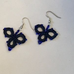 Hand tatted beaded earrings